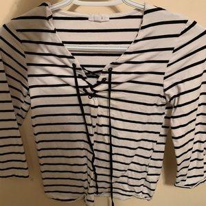 Ardene lace front stripe shirt